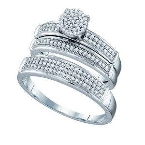 10k White Gold 0.40 Cttw Diamond Miro-pave Wedding Band Engagement Ring Trio Set