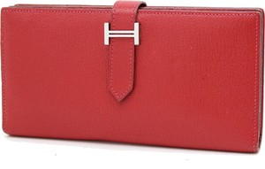Hermès Hermes Bearn Long Wallet Rouge Casaque goatskin