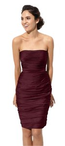 Monique Lhuillier Wedding Party Chiffon Ruched Strapless Holiday Cationic Shimmer Hourglass Dress