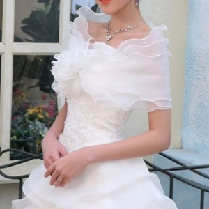 58f44ae57f Ivory Chiffon Or Prom Shrug Coat Bolero Free Shipping Formal Wedding Dress  Size 6 (S)