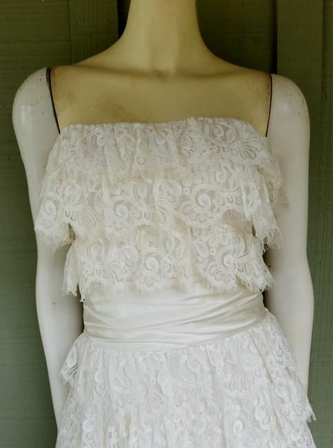 Nicole Miller Bridal Lace Tiered Strapless Dress