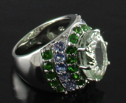 Other 6.54ct Prasiolite, Tanzanite and Chrome Diopside Sterling Silver Ring - Size 6