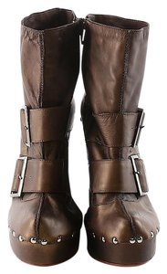 Nanette Lepore Studded Buckles Leather Brown Boots