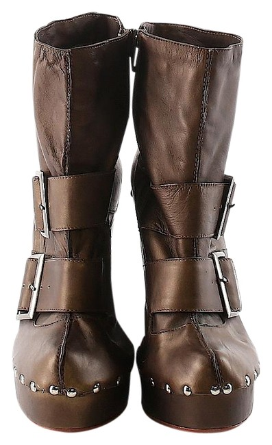 Item - Brown Studded Buckles Leather Boots/Booties Size US 10 Regular (M, B)
