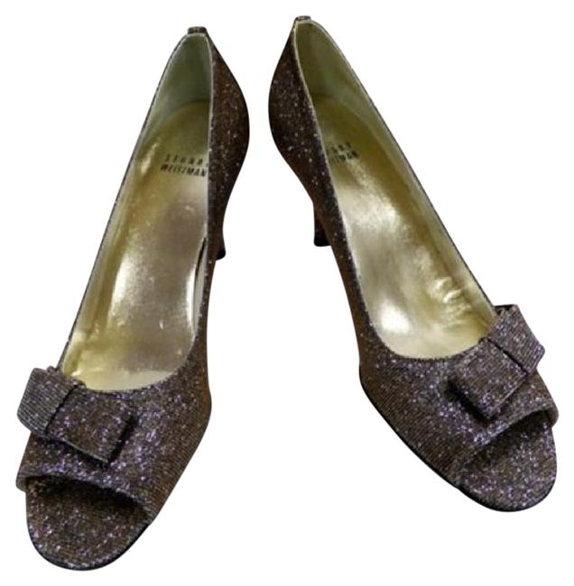 Item - Bronze New Pyrite Nocturn Bow Open Toe Pumps Size US 7.5 Narrow (Aa, N)