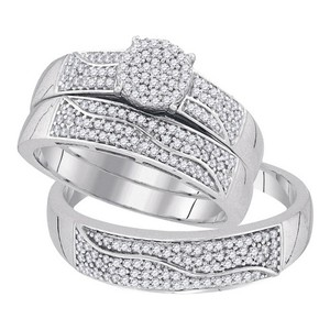 10k White Gold 0.50 Cttw Diamond Miro-pave Wedding Band Engagement Ring Trio Set