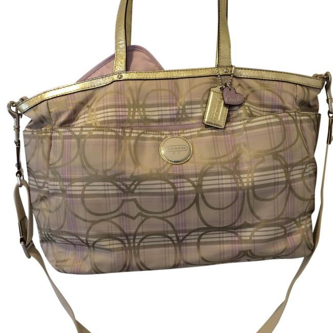 Item - Gold/Lavender/Cream Fabric with Leather Handle and Trim Diaper Bag