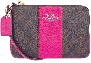 Coach Corner Zip Wristlet in Brown / Pink Ruby