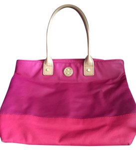 Tory Burch Canvas Summer Pink Tote in Auburn/Carmine