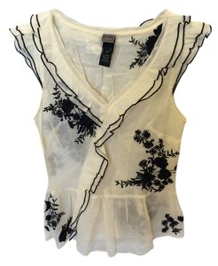 Anthropologie Top Cream w/ Dark Blue Embroidery