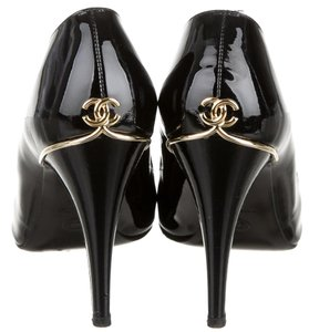 Chanel Patent Leather Peep Toe Black, Gold Pumps