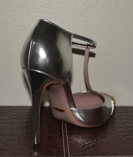 Gucci Leather Leather Silver Pumps