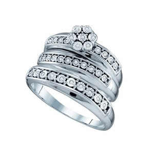 10k White Gold 0.12 Cttw Diamond Miro-pave Fanuk Wedding Band Engagement Ring Trio Set