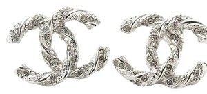 Chanel Authentic BRAND NEW UNUSED EARRINGS CRYSTAL CC SLIVER F15V