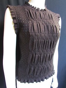 Valentino Women Dark Wool Elastic Sleeveless Thin Beads Sweater Top Browns