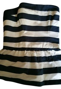 Abercrombie & Fitch Sailor Nautical Striped Strapless Tube Top navy and white