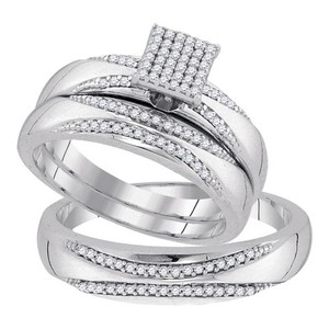 10k White Gold 0.33 Cttw Diamond Miro-pave Wedding Band Engagement Ring Trio Set