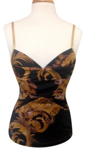 Just Cavalli Designer Bustier Sexy Date Night Top Black/Gold