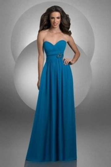 Bari Jay Peacock Chiffon 412 Formal Bridesmaid/Mob Dress Size 8 (M)
