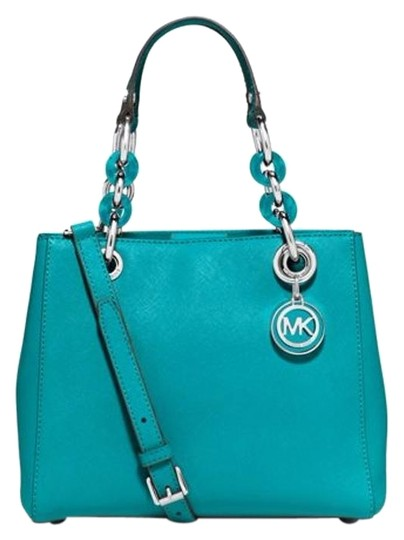 Preload https://img-static.tradesy.com/item/16347001/michael-kors-cynthia-small-tile-blue-saffiano-leather-satchel-0-1-540-540.jpg