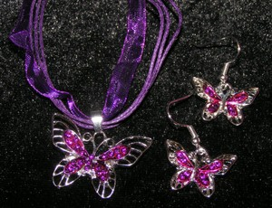 2pc Purple Butterfly Necklace Set Free Shipping