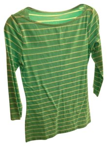 Merona Boat Neck T Shirt Teal and white