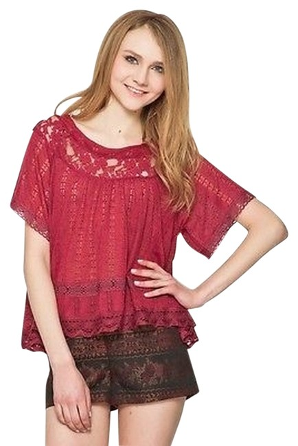 Free People Boho Peasant Dandelion Color Bohemian Top Merlot