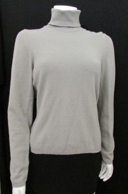 Oscar de la Renta Women Fashion Knit Cashmere Sweater Turtleneck Top Gray