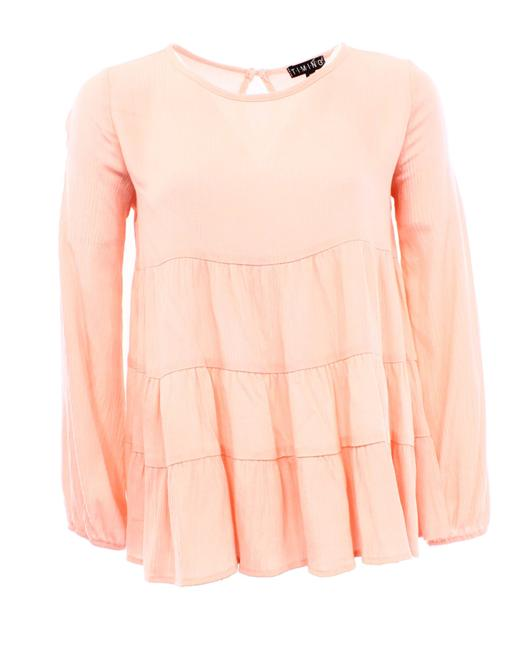 Item - Juniors Solid Textured Tiered Flare Blouse