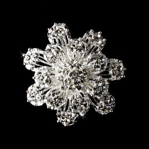 Silver And Crystal Brooch