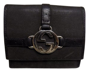 Gucci Gucci Black Canvas & Leather Wallet