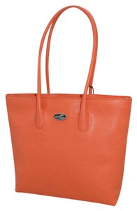 Furla St. Saffiano Leather Italian Tote in Papaya Orange