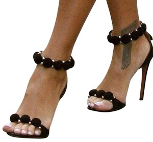 ALAÏA Black Pom Pom Sandals