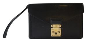 Louis Vuitton Epi Leather Wristlet Black Clutch
