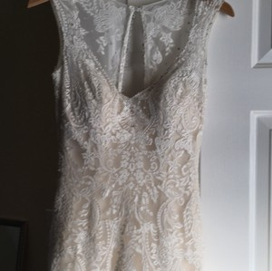 Allure Bridals Ivory Over Light Gold Top Layer Is Lace 9125 Vintage Wedding Dress Size 4 (S)