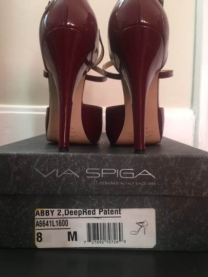 Via Spiga High Heels Patent Leather Platform Strappy Red Pumps