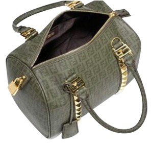 Fendi Luxury Studded Pyramid Studs Satchel in Dark Green and Gold