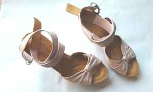 Børn New Crown Full Grain Leather Ballet Ankle Strap Pink Platforms