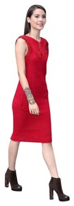 Chanel short dress red Tweed Leather on Tradesy