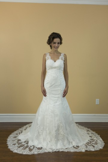 Handmade Mermaid White Lace Wedding Dress. Vneck With Open Back Bridal Gown Wedding Dress