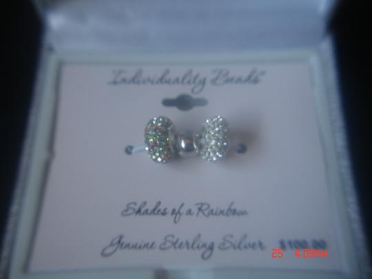 INDIVIDUALITY BEADS STERLING SILVER 2 COLORED STERLING SILVER CHARMED MEMORIES INDIVIDUALITY BEADS NEW W/ GIFT BOX