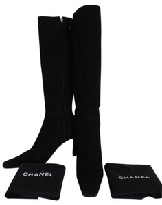 Chanel Suede Leather Cc Logos Black Boots