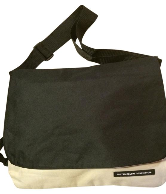 Item - Black & White Canvas Messenger Bag