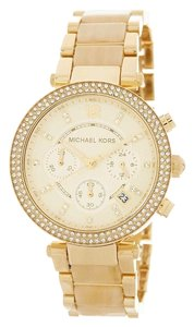 Michael Kors Gold and Horn Pave Bracelet Watch