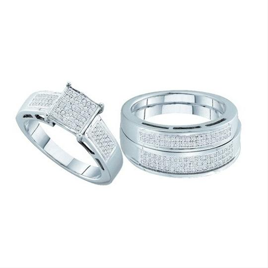 White Gold | Diamond 10k 0.60 Cttw Miro-pave Band Trio Set Engagement Rings