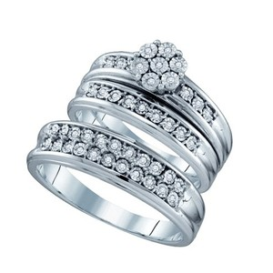 10k White Gold 0.12 Cttw Diamond Miro-pave Wedding Band Engagement Ring Trio Set