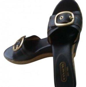 Coach Leather Black Wedges