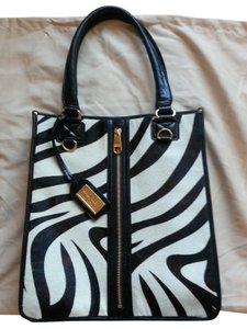 Badgley Mischka Tote in Black and White Zebra Print
