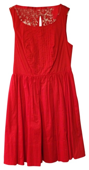 Anthropologie short dress Orange Red Cut-out Pleated on Tradesy