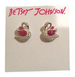 Betsey Johnson Betsey Johnson NWT Swan Rhinestone Pink and Silver Earrings